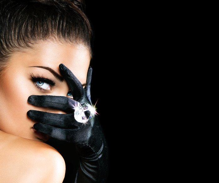 Vintage Style Mysterious Woman Wearing Black Gloves